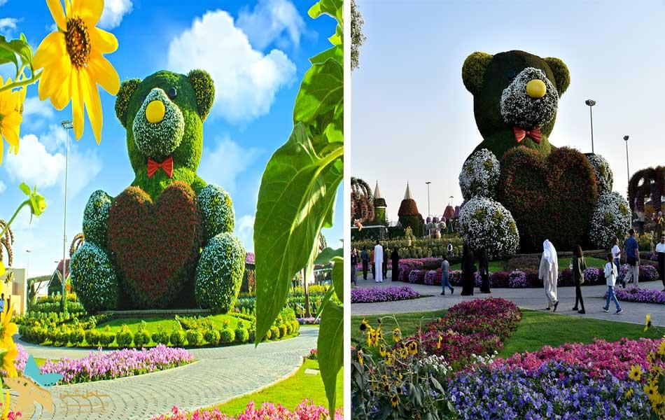 خرس تدی در باغ معجزه دبی